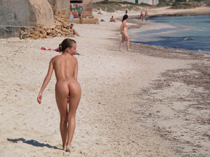 nudist family at beach